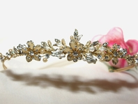 Angelica - Gold Champagne Pearl Bridal Tiara