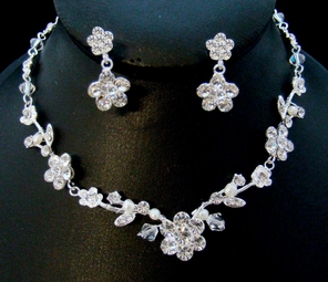 Angie - Crystal and Floral Vine Necklace Set