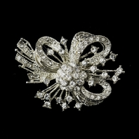 Antique Silver Clear Rhinestone Bow Tie Brooch