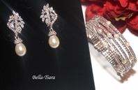 Antonia - Elegant CZ pearl wedding earrings and bracelet set - SPECIAL- sold