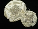 Arana - NEW!! Gorgeous Couture ivory satin crystal hair flower clip - CLEARANCE one left