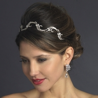 Arizona - Delicate swirl antique silver wedding headband - SALE
