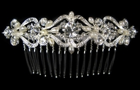 Aspen - Beautiful vintage freshwater pearl and crystal bridal comb - SALE!!!