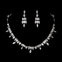 Atara - Dazzling Cubic Zirconia maquise drop necklace set - SPECIAL