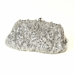 Ava - silver sequined evening clutch purse - SALE