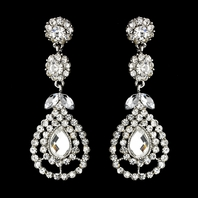 Barbara - Sparkling long rhinestone drop earrings - SALE