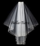 Beaded crystal two layer wedding veil - SPECIAL