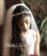 Beata-Beautiful floral crystal communion hair vine - additional 15% off