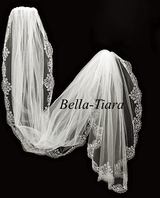 Beata - Royal Collection Elegant beaded floor length chapel veil - sale