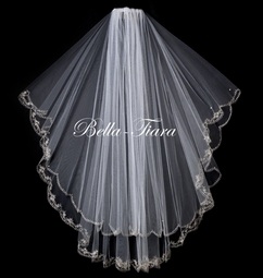 BEAUTIFUL  2-tier Waltz lenght crystal edge bridal veil - SALE!!