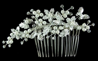 Beautiful Butterfly Pearl Bridal Hair Comb