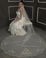 Elena Designs - Romantic crystal beaded edge cathedral veil