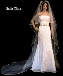 Beautiful satin edge Cathedral Cascading Veil - SALE