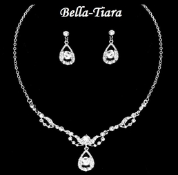 Beautiful Communion Rhinestone & Crystal Drop Necklace Set