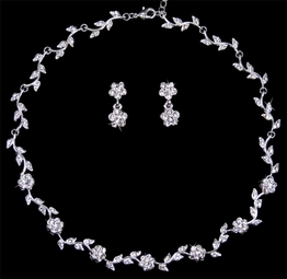 Beautiful communion rhinestone necklace set - SALE