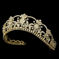 Beautiful dazzling gold wedding tiara - SPECIAL