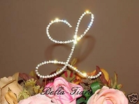 Beautiful, Elegant Full Crystal Gold Rennaissance Monogram Cake Topper