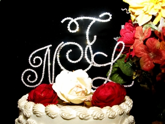Beautiful Elegant Full Crystal Monogram Cake Topper
