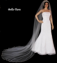 Beautiful Extra Full rhinestone edge cathedral wedding veil