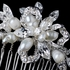 Beautiful Freshwater Pearl & Rhinestone Ribbon Leaf Comb