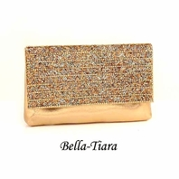 Beautiful gold beaded clutch wallet evening purse - SALE