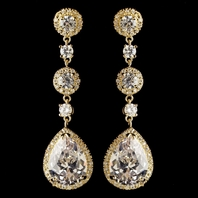 Beautiful gold drop cz wedding earrings