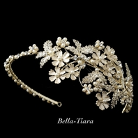 NEW!! Luxurious Collection - Gold ivory wedding headband - SPECIAL