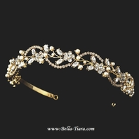 Beautiful gold swirl pearl wedding headband tiara - special -