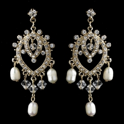 Beautiful gold vintage chandelier wedding earrings