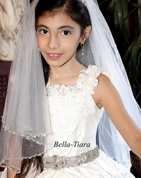Italian Collection - Beautiful high end crystal and pearl first communion veil