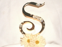 Beautiful Large Gold Partial Crystal Monogram Cake Topper