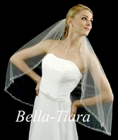 Beautiful marquise crystal edge designer veil for rent