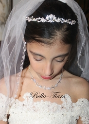 Beautiful one tier pearl and Swarovski crystal edge communion veil