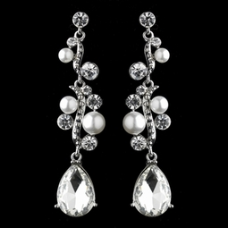 Beautiful pearl and rhinestone wedding earrings - clearance  two left