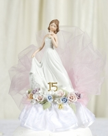 Beautiful porcelain Quinceanera or Sweet Sixteen cake topper - SALE