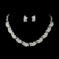 Beautiful rhinestone clustered necklace set - SALE