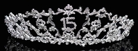 Beautiful Rhodium plated crystal quinceanera tiara crown