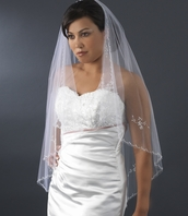 Beautiful romantic beaded cascading veil