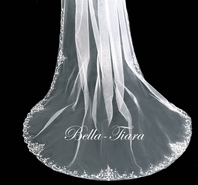 Beautiful royal beaded edge crystal cathedral veil - free blusher - SALE