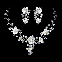 Beautiful Silver Crystal, Porcelain & Pearl Bridal Jewelry Set - SALE
