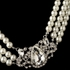 Beautiful Silver Ivory Pearl & Rhinestone Side Accented Necklace Set