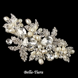 Salandia -  Silver Freshwater Pearl and Crystal Hair Clip