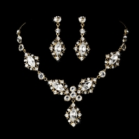 Beautiful Swarovski crystal gold Elegant Jewelry Set - SALE