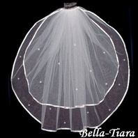 Beautiful two tier ribbon with crystals communion veil - SALE