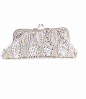 Beautiful vintage silver pearl beaded wedding purse - SPECIAL BACK IN STOCK