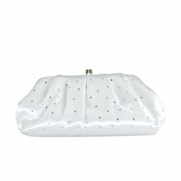 Beautiful white satin scattered rhinestone bridal purse - SALE!!