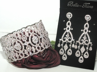 Bellamore - Stunning high end Wide CZ vintage earring bracelet set - Amazingly priced!!