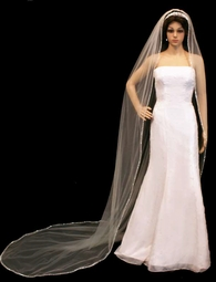 Dazzle Collection -  Cathedral Veil with Rhinestones & Pearls Edge - SPECIAL