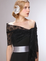 Black Lace Wrap Handmade in the USA with Pencil Edge