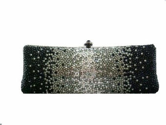 Blacktie - Dramatic Black and clear Swarovski crystal evening purse - SALE!!!